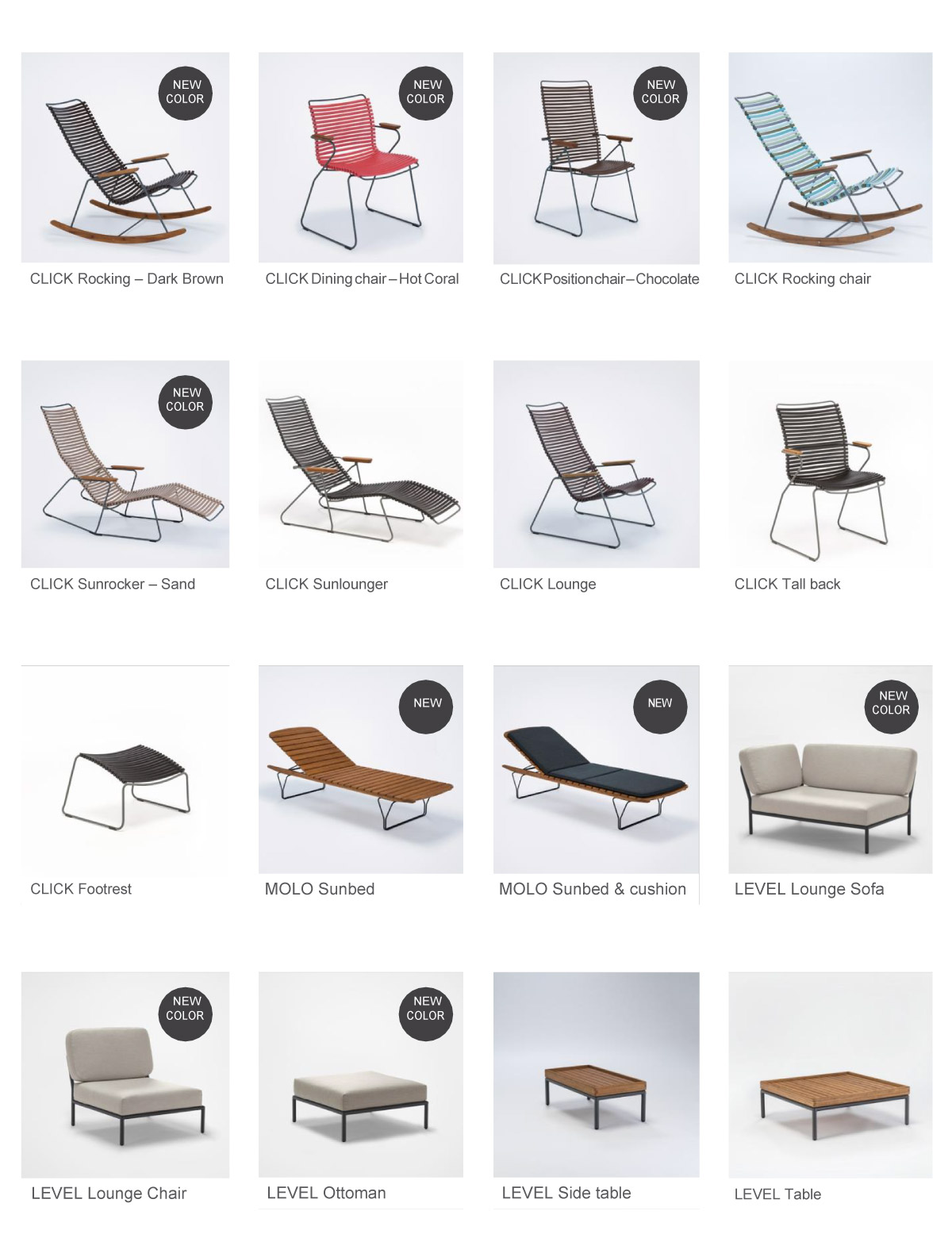 CLICK, MOLO and LEVEL Outdoor Furniture
