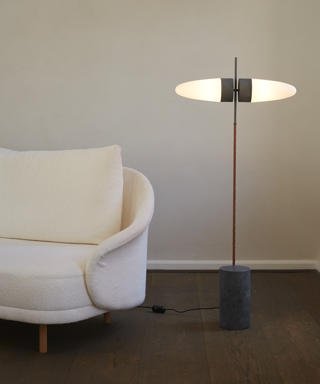 101 Copenhagen Oxidised Bull Floor Lamp near sofa